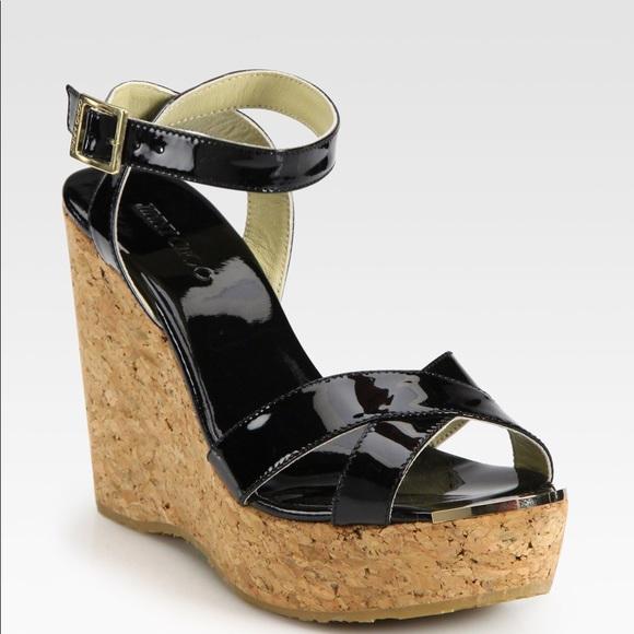 400601b1802 Jimmy Choo Shoes - Jimmy Choo Papaya Patent Leather Cork Wedges 38.5